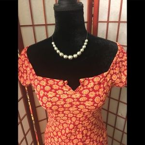 Dresses & Skirts - Beautiful RED/ORANGE Floral pattern Dress SZ Small